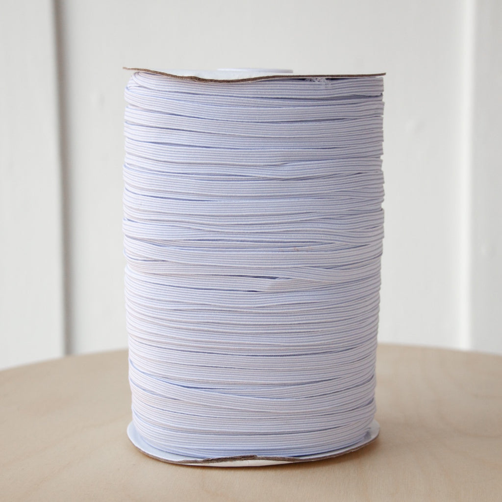 "1/4"" Braided Elastic - White - Per metre"