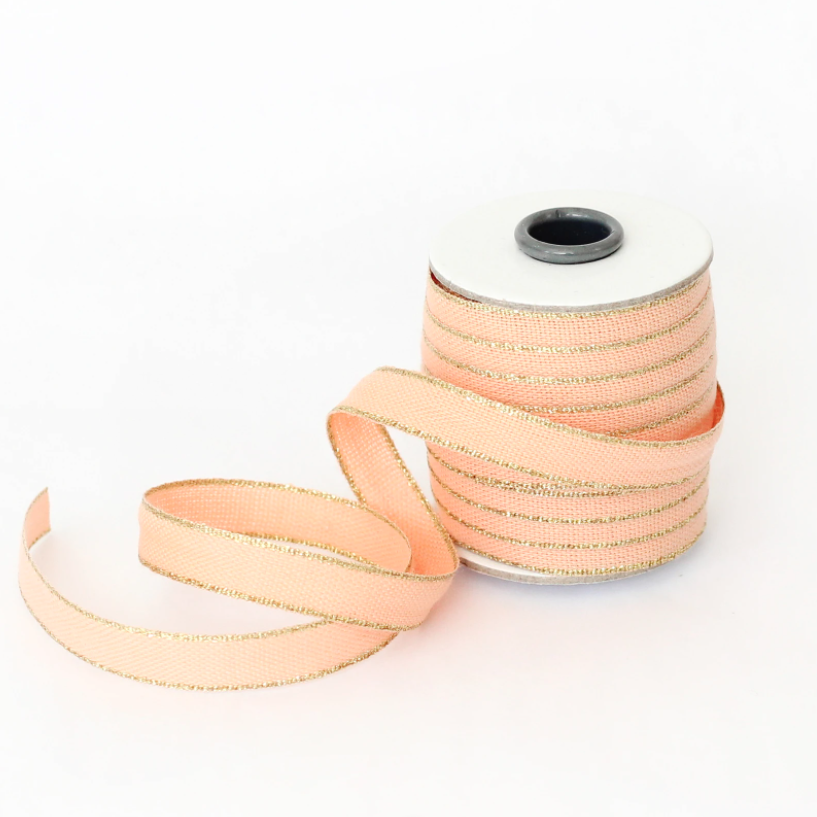"1/2m Studio Carta - Drittofilo Cotton Ribbon - 3/8"" - Peach/Gold"