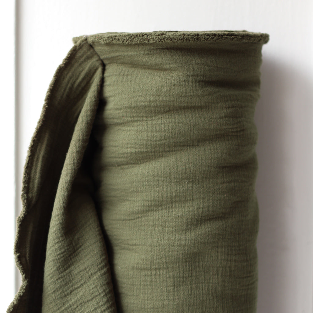 1/2m Textured Cotton Double Cloth - OD Green