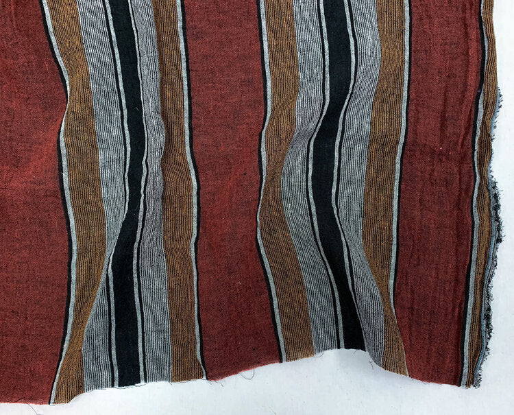 1/2m Yarn Dyed Washed Linen - Multi Stripe - Rust