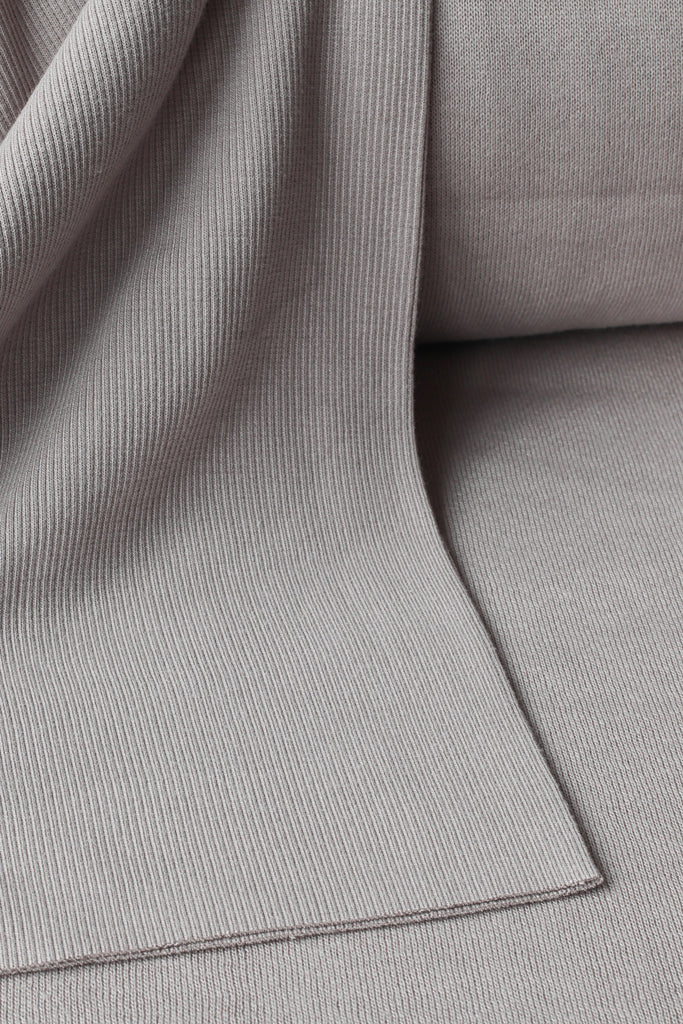 1/2m Bamboo Cotton Rib Knit - Soft Grey