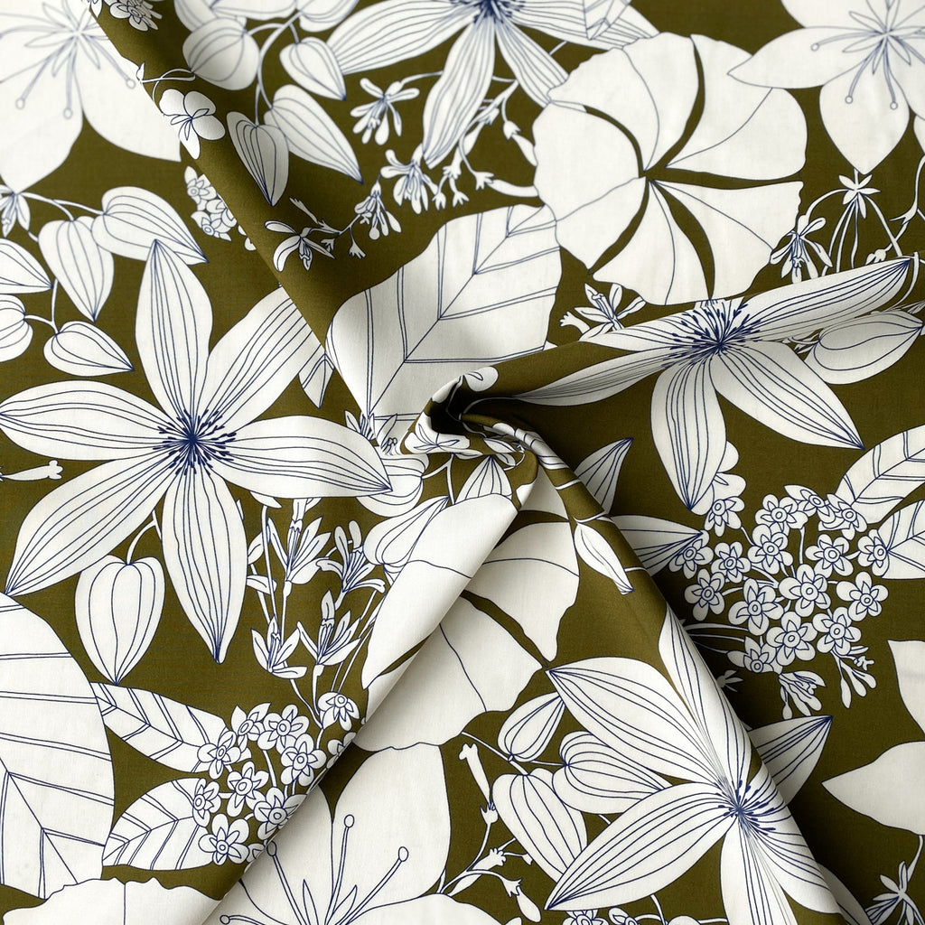 1/2m Cotton Viscose Shirting - Garden Flowers - Olive