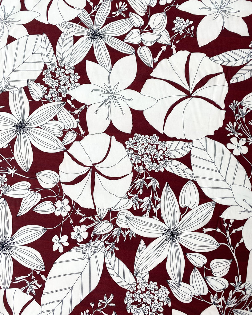 1/2m Cotton Viscose Shirting - Garden Flowers - Bordeaux
