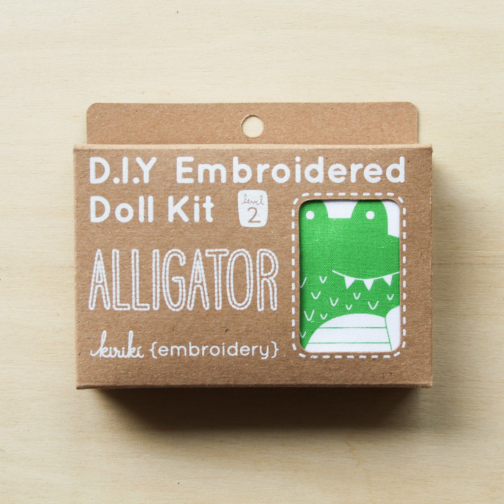 Kiriki Press - Embroidered Doll Kit - Alligator