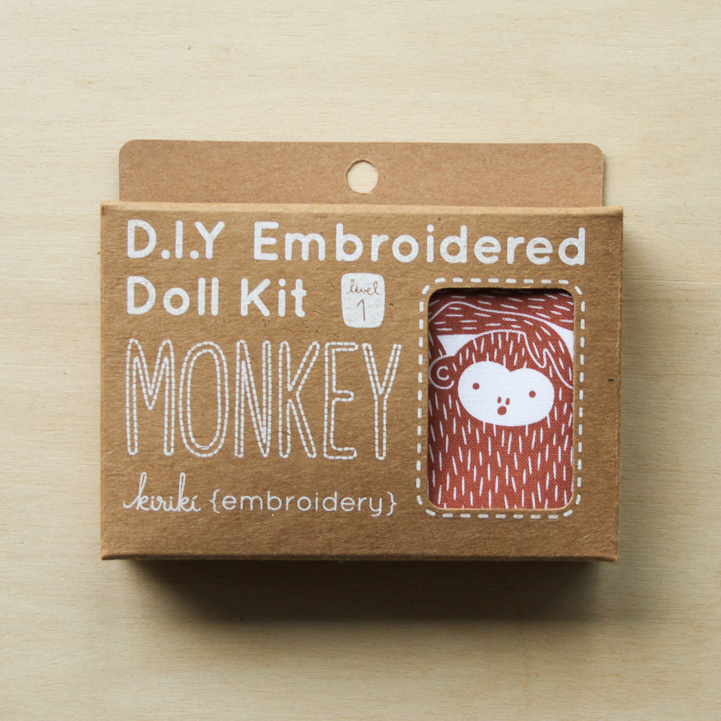 Kiriki Press - Embroidered Doll Kit - Monkey
