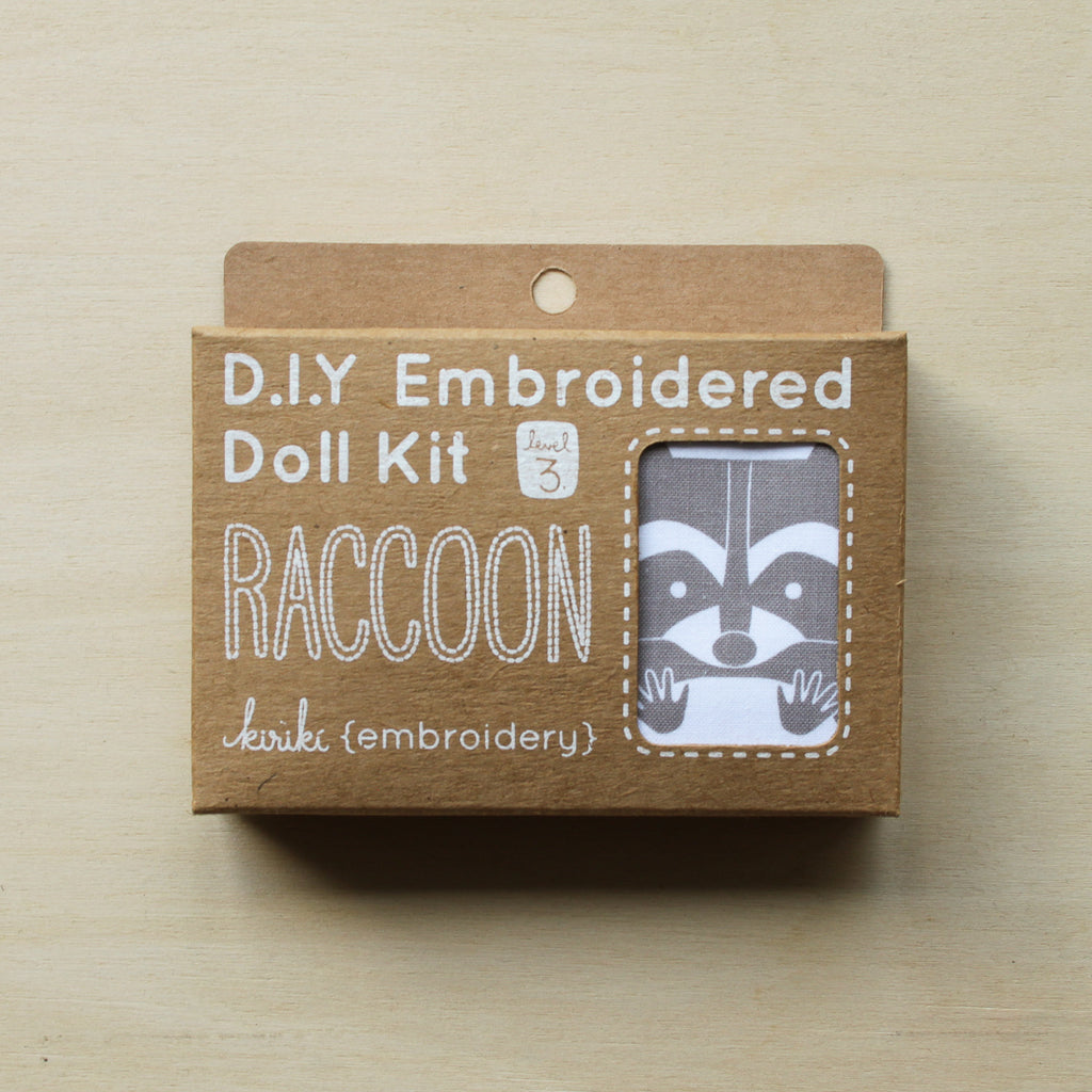 Kiriki Press - Embroidered Doll Kit - Raccoon