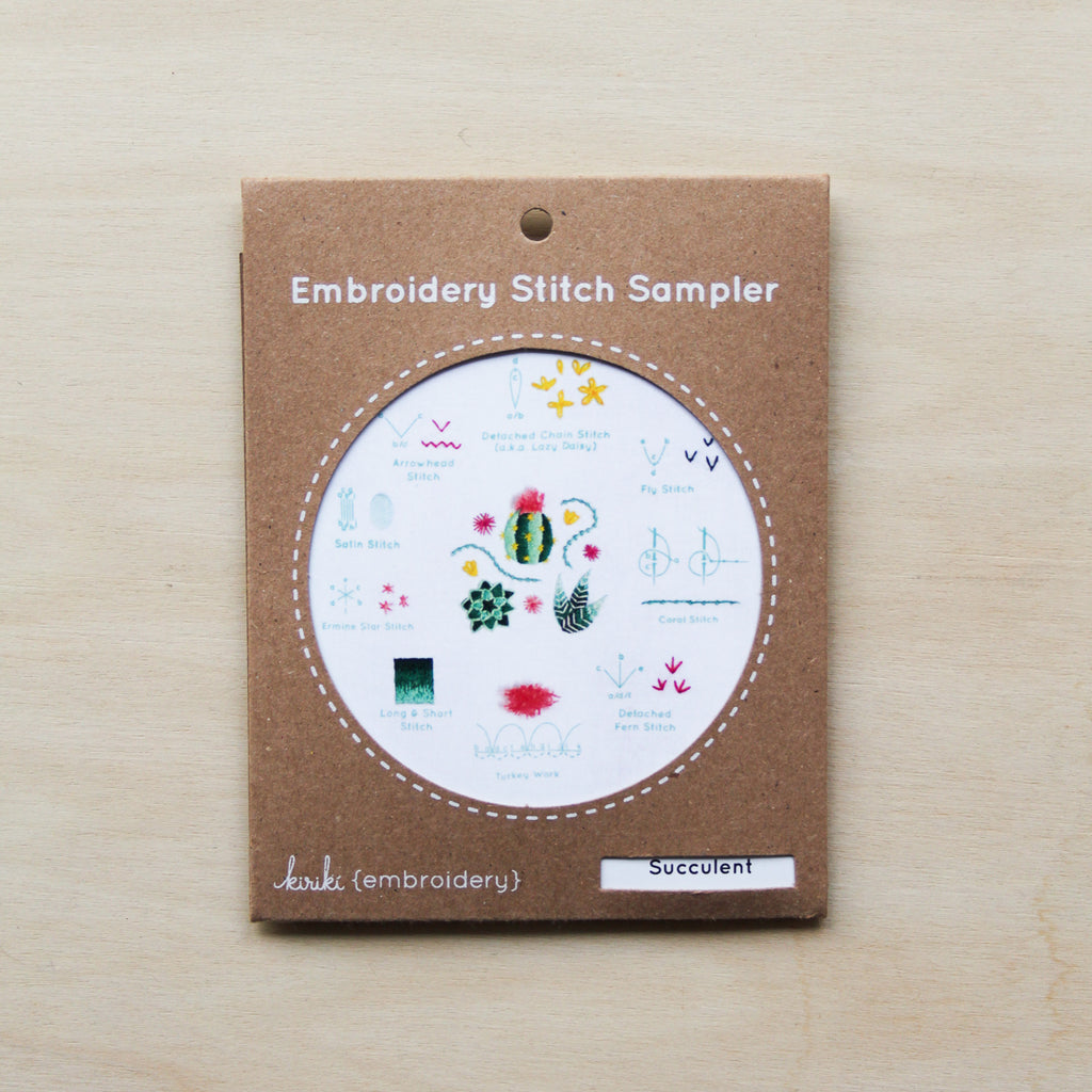 Kiriki Press- Embroidery Stitch Sampler - Succulent
