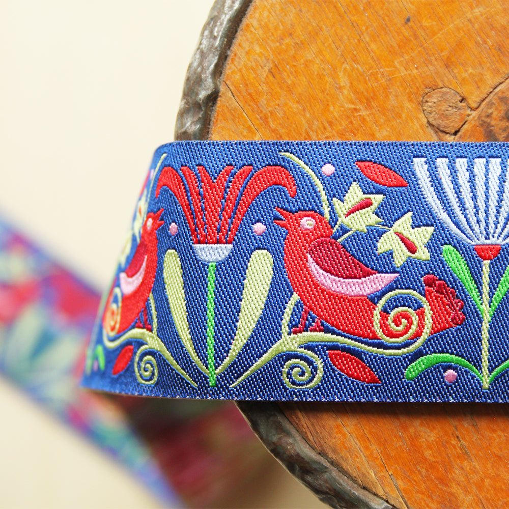 Renaissance Ribbons - Red Art Deco Flowers On Indigo - 38mm / 1-1/2""