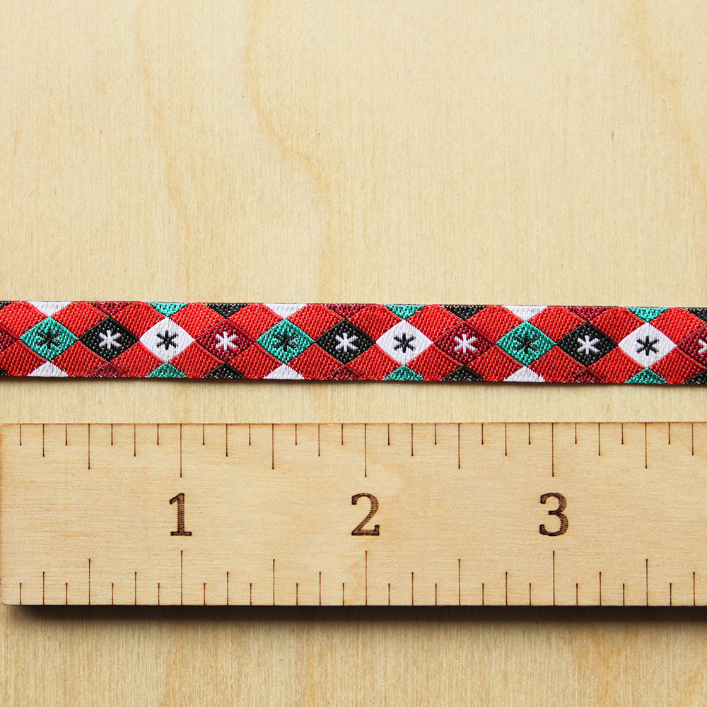 Renaissance Ribbons - Mini Argyle and Stars - Red - 3/8""