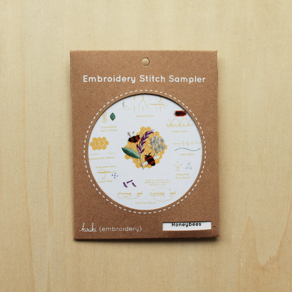 Kiriki Press - Embroidery Stitch Sampler - Honeybees