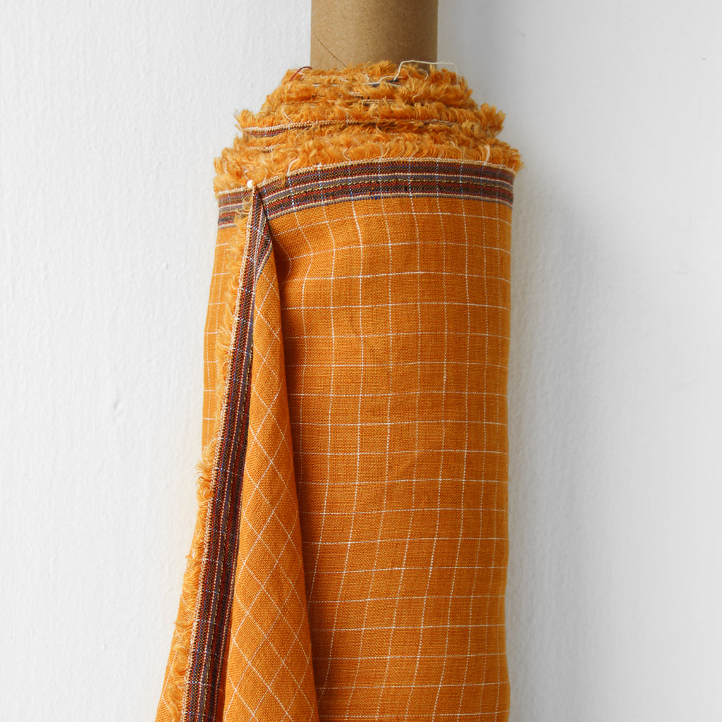 1/2m Linen - Lightweight Yarn Dyed Check - Grid - Mango