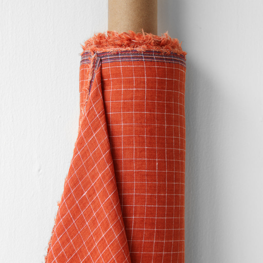 1/2m Linen - Lightweight Yarn Dyed Check - Grid - Papaya