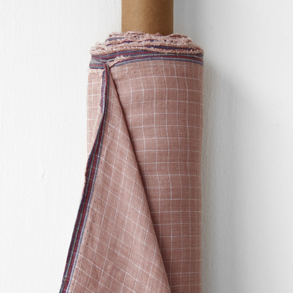 1/2m Linen - Lightweight Yarn Dyed Check - Grid - Petal