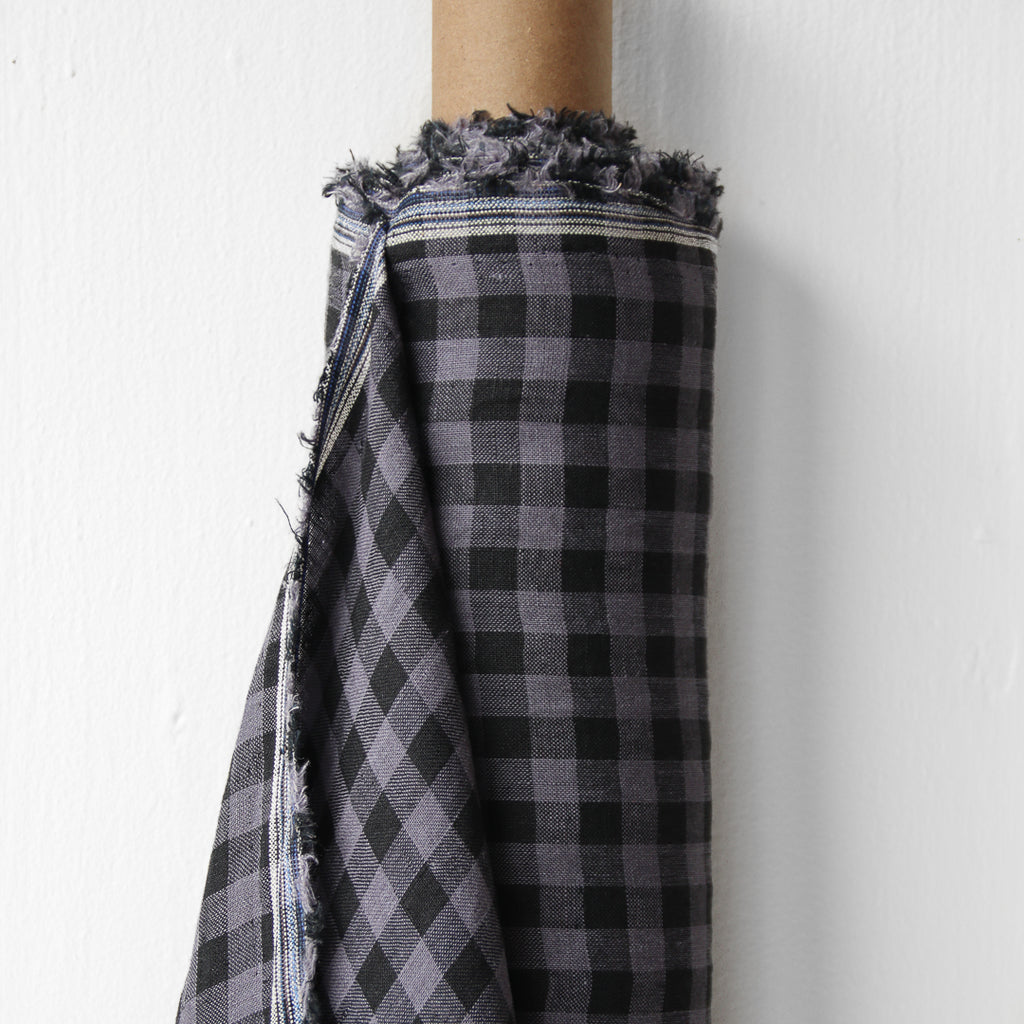 1/2m Linen - Lightweight Yarn Dyed Check - Gingham - Charcoal