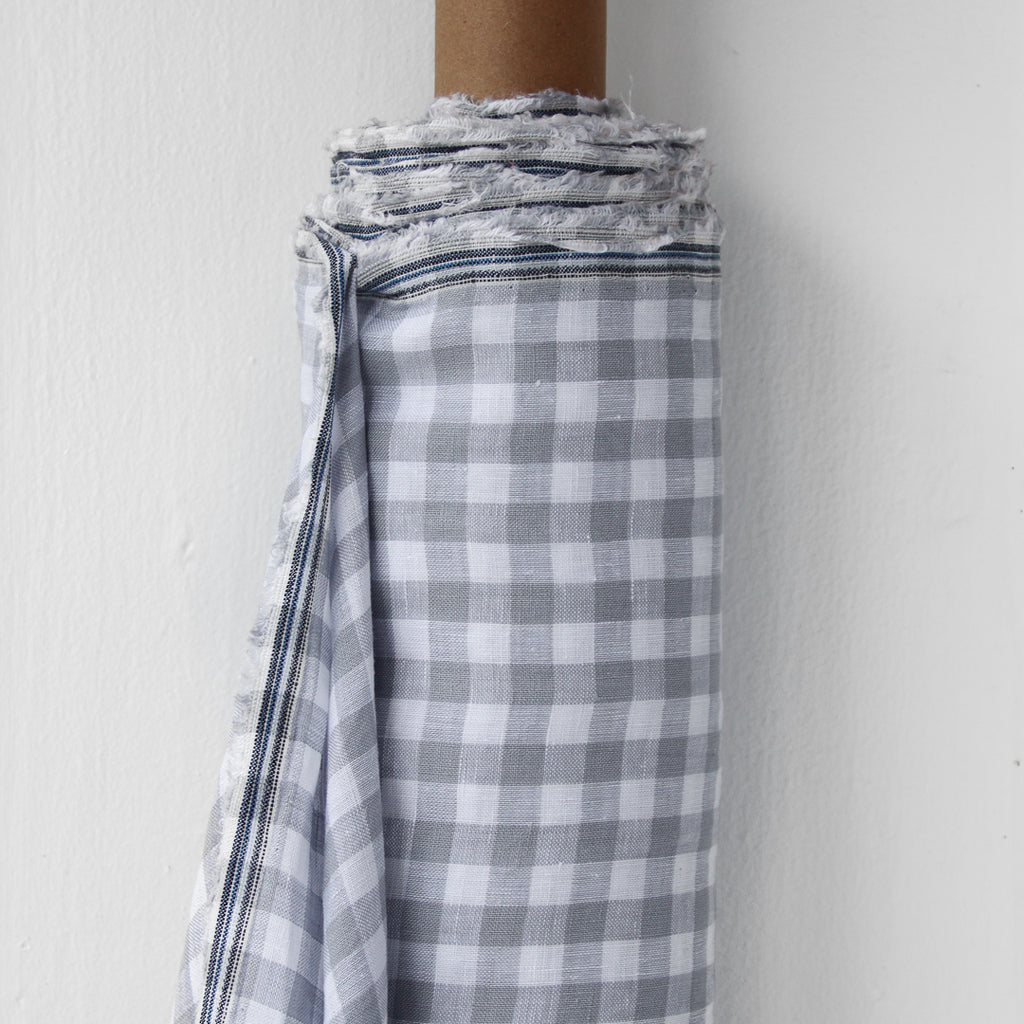 1/2m Linen - Lightweight Yarn Dyed Check - Gingham - Dove