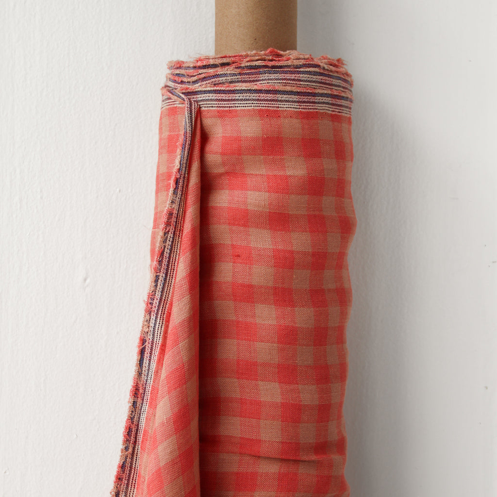 1/2m Linen - Lightweight Yarn Dyed Check - Gingham - Watermelon