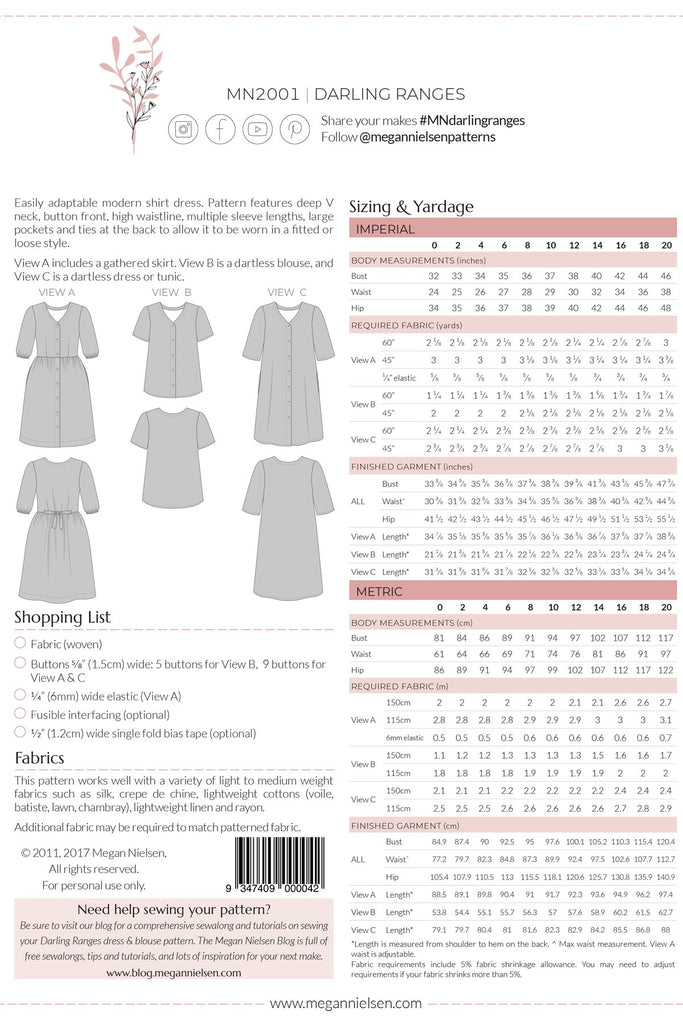 Megan Nielsen Patterns - Darling Ranges Dress