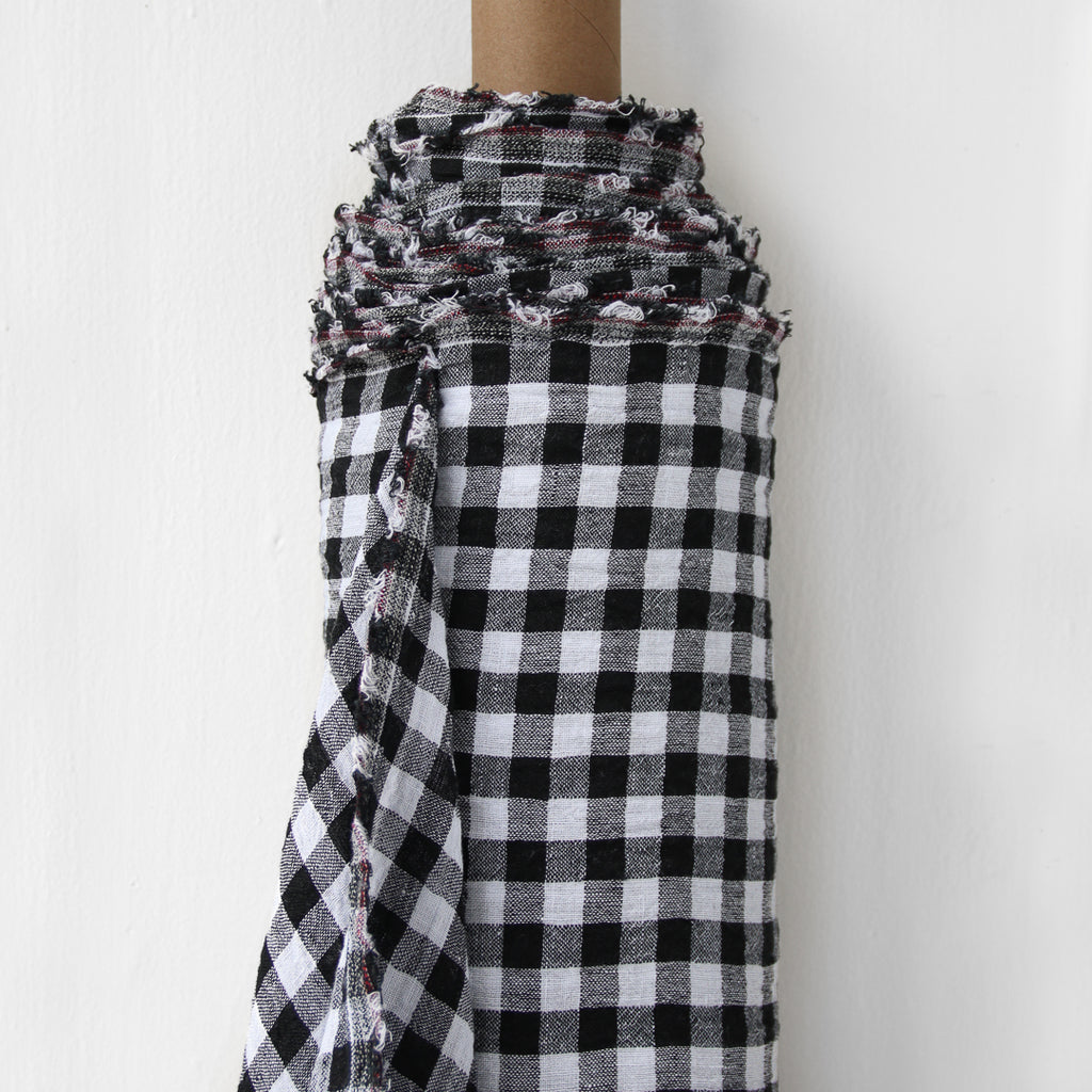 1/2m Linen - Midweight Yarn Dyed Crinkle - Gingham Check - Black and White