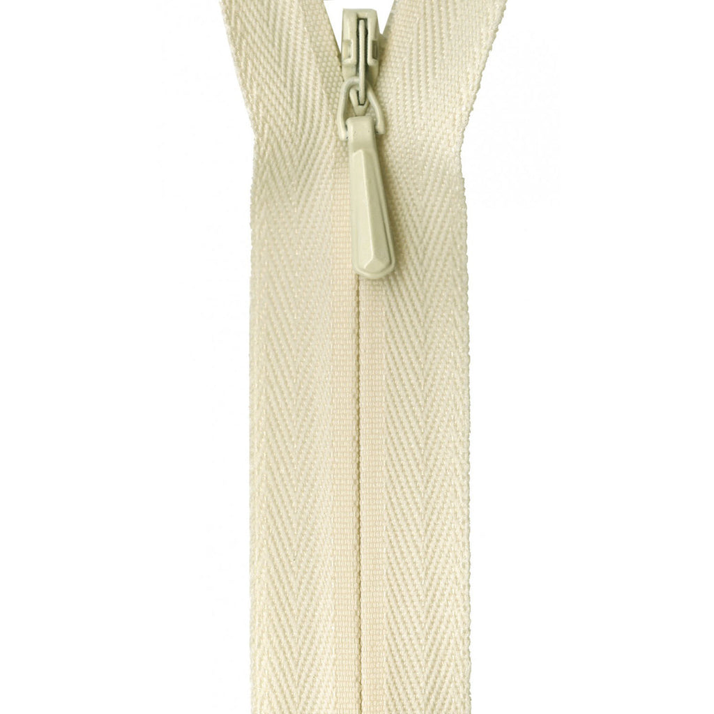 "YKK Unique Invisible Zipper - 9"" - Cream"