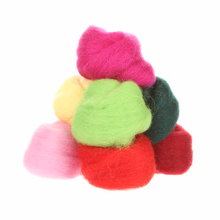 Wistyria Wool Roving - 8 Pieces - Zinnias