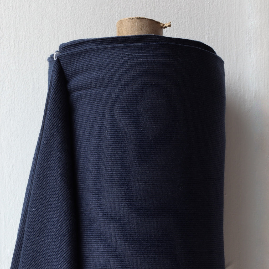 1/2m Bamboo Cotton Rib Knit - Navy