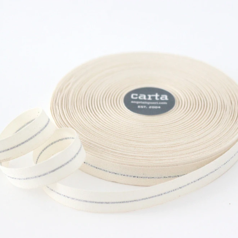 "1/2m Studio Carta - Metallic Line Cotton Ribbon - Tight Weave - 5/8"" - Natural/Silver Line"