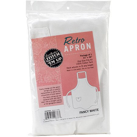 "Aunt Martha's Stitch 'Em Up Retro Fancy Cut Apron, 36"" x 31"", White"