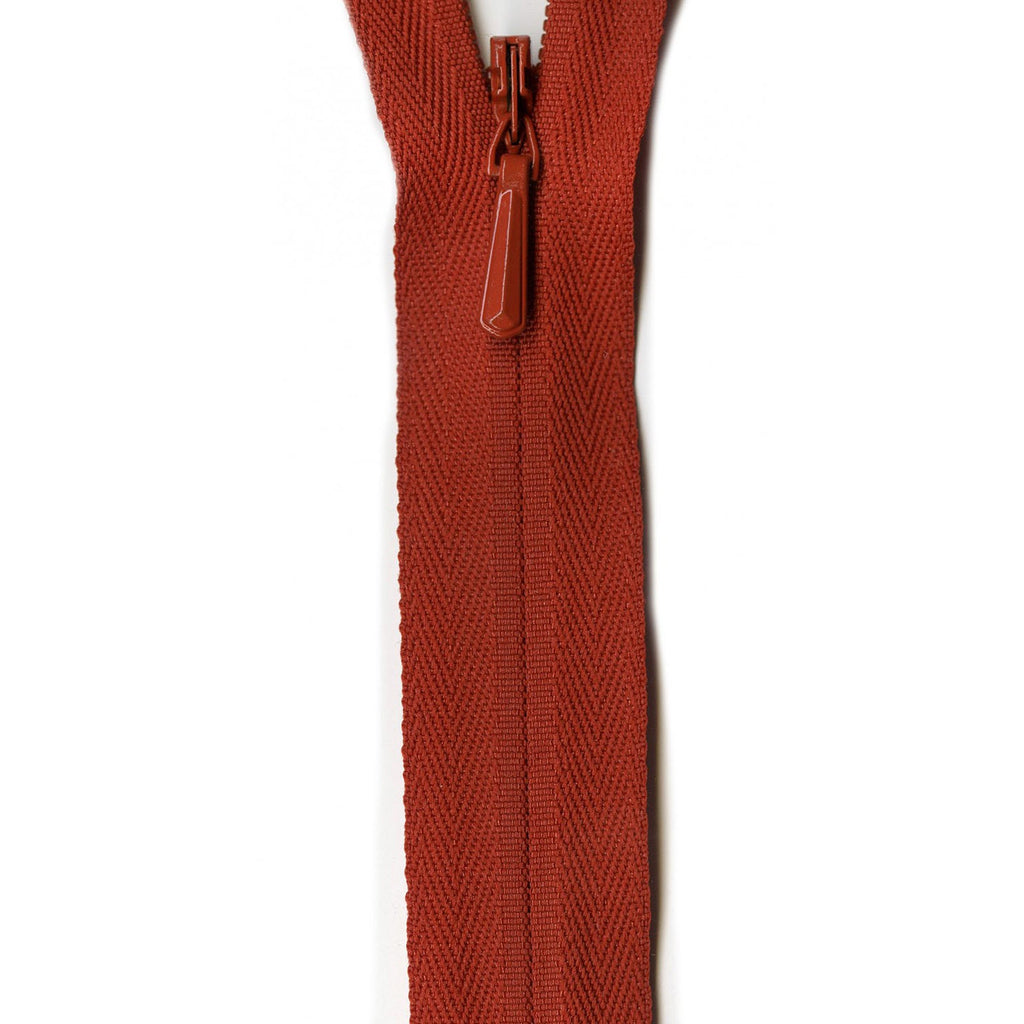 "YKK Unique Invisible Zipper - 9"" - Rust"