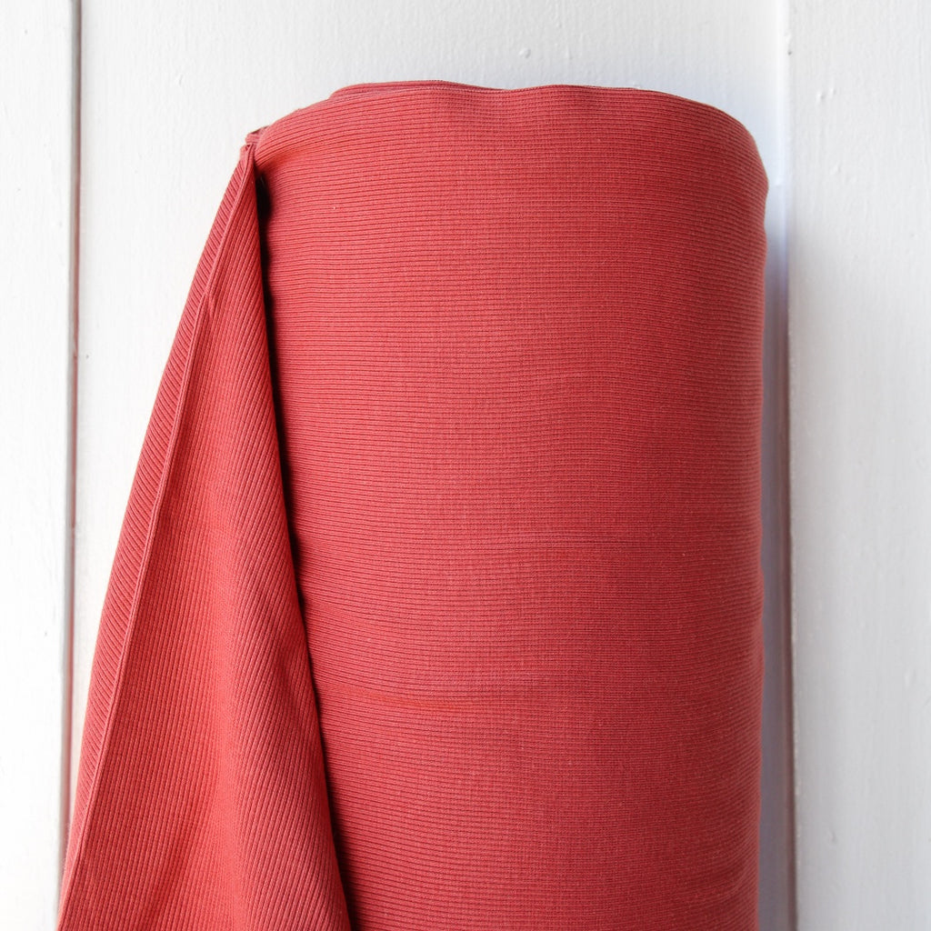 1/2m Bamboo Cotton Rib Knit - Dark Coral