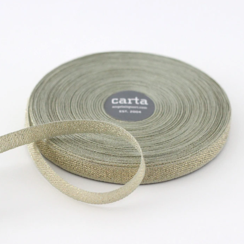 "1/2m Studio Carta - Metallic Cotton Ribbon - Loose Weave - 1/2"" - Sage/Gold"
