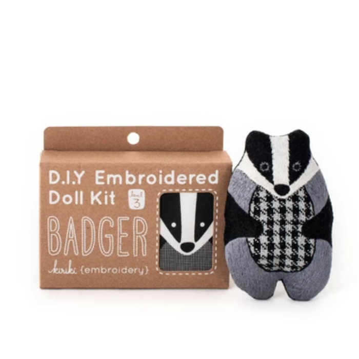 Kiriki Press - Embroidered Doll Kit - Badger