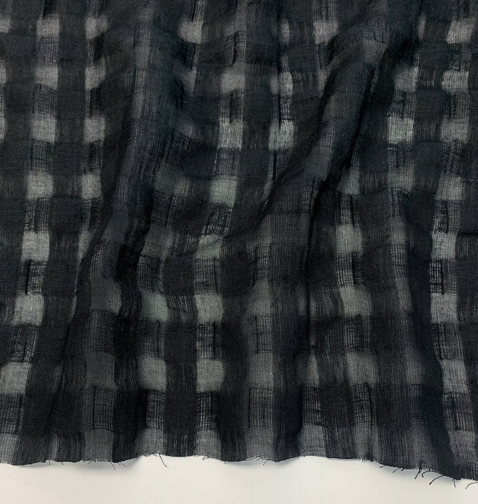 1/2m Linen Cotton Jacquard Check - Black