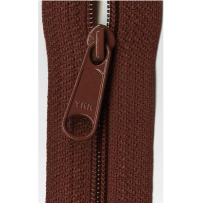 "YKK Ziplon Closed Bottom Zipper - 9"" - Dark Rust"