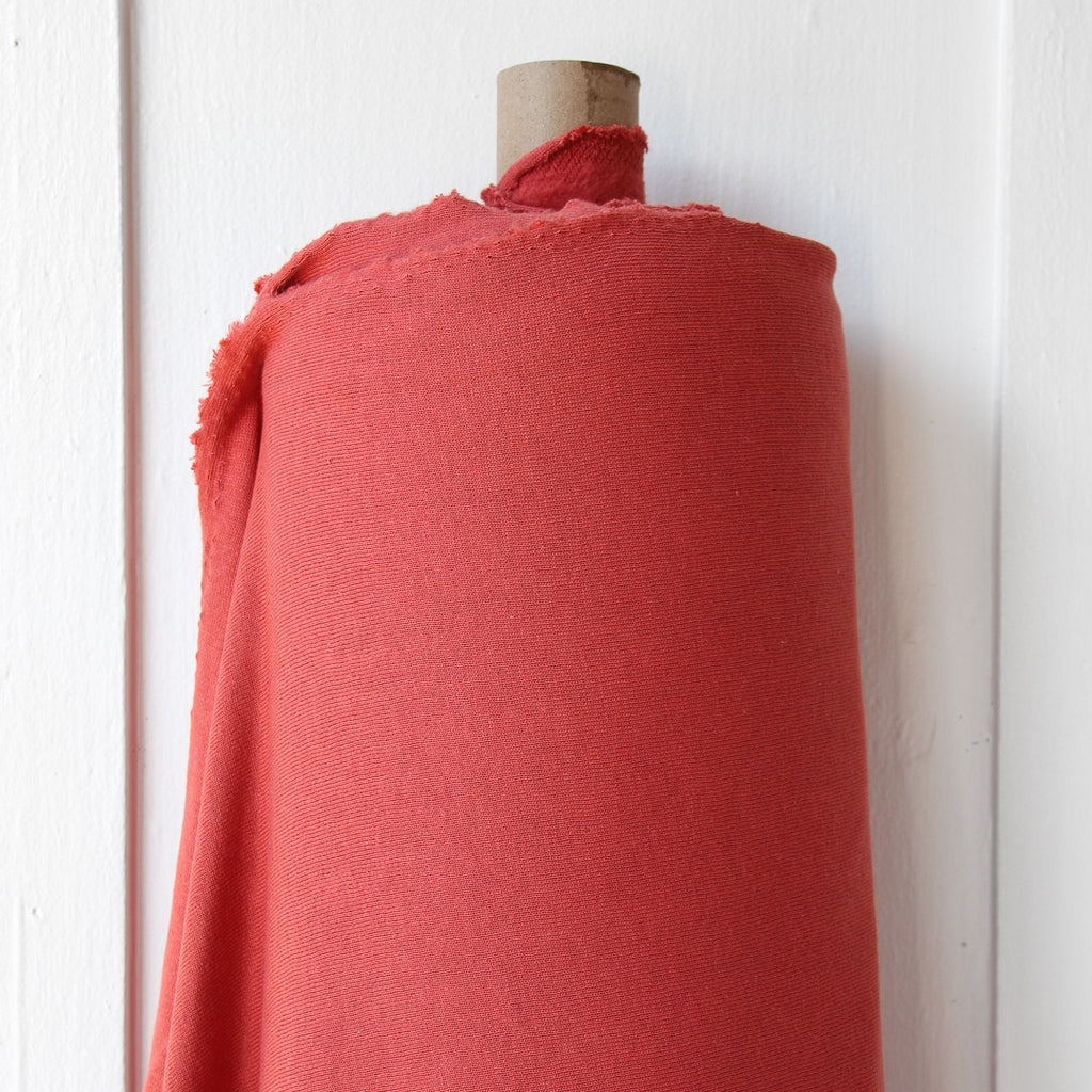 1/2m Bamboo Cotton Fleece - Dark Coral