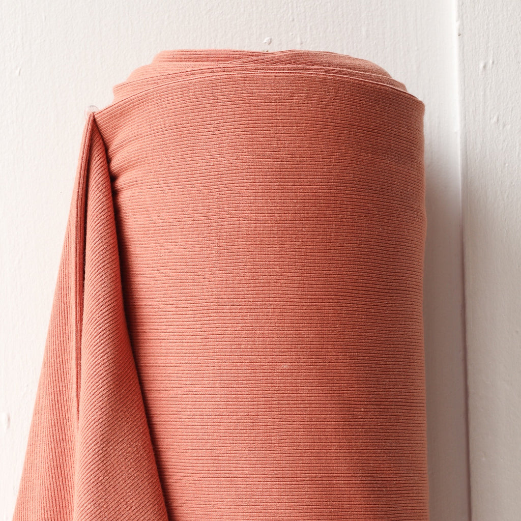 1/2m Bamboo Cotton Rib Knit - Terracotta
