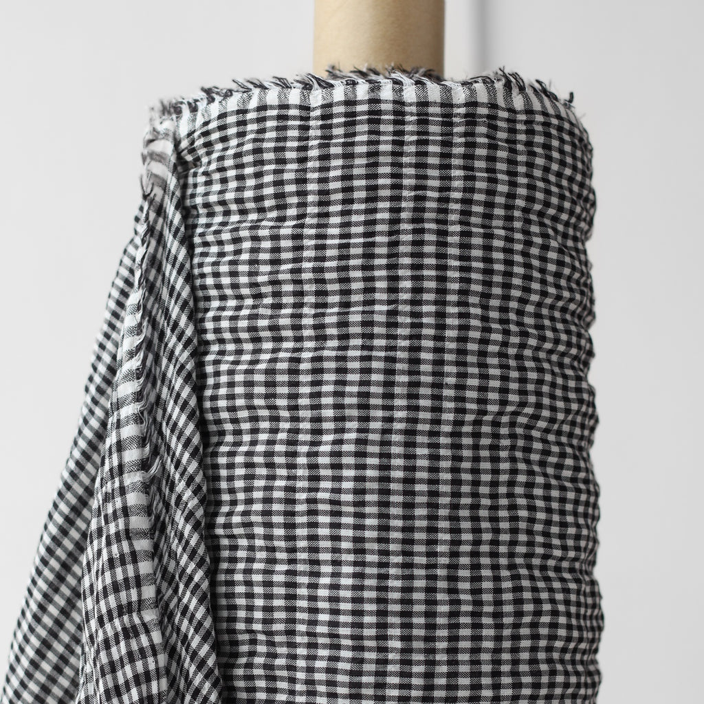 1/2m Cotton Tencel - Plaid Shirring - Mini Plaid - B&W