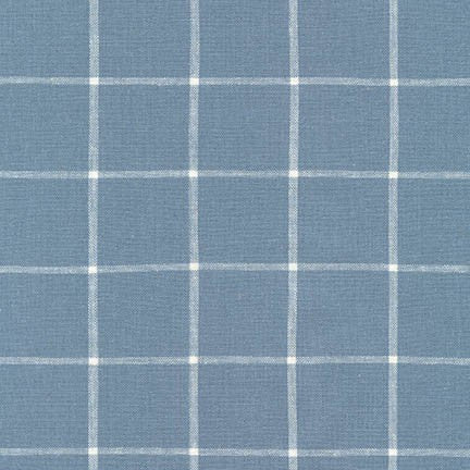 1/2m Robert Kaufman - Essex Yarn Dyed Classic Wovens - Windowpane - Chambray