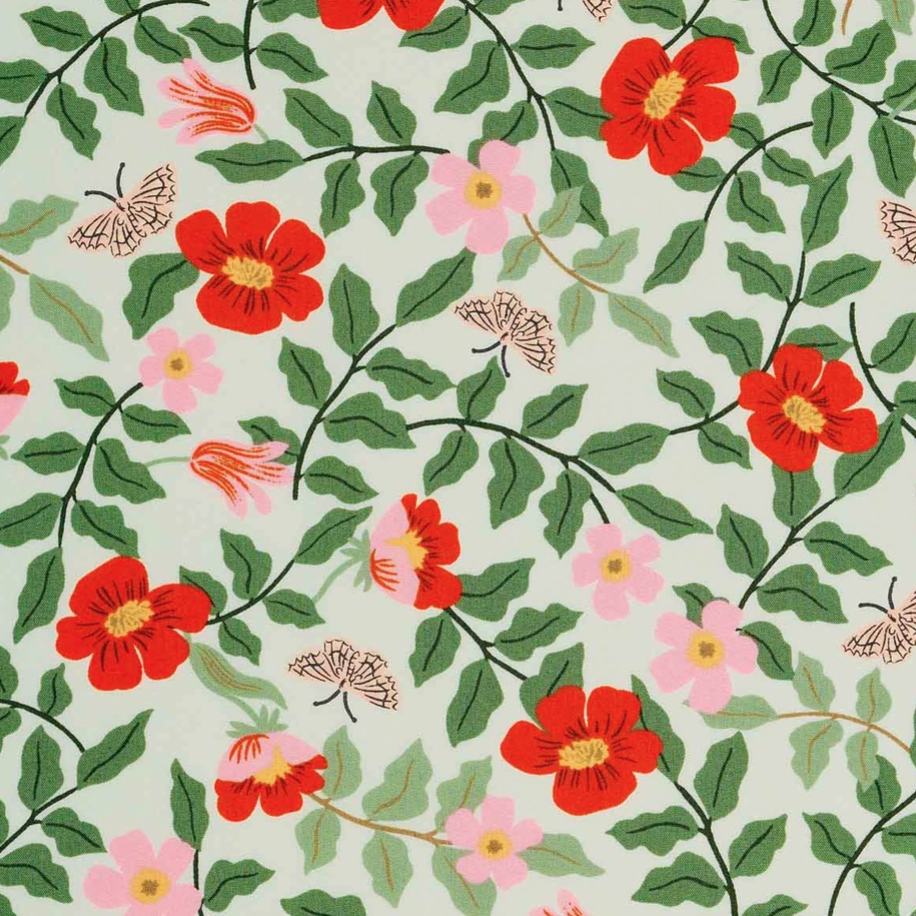 1/2m Rayon Rifle Paper Co. - Strawberry Fields - Primrose RAYON - Mint