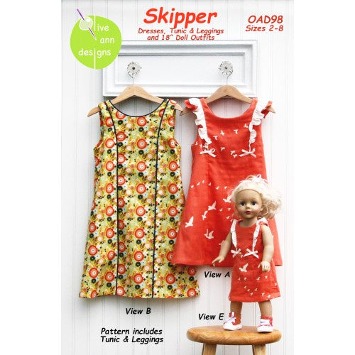 Olive Ann Designs - Skipper Dress, Tunic and Leggings with Matching Doll Dress Pattern