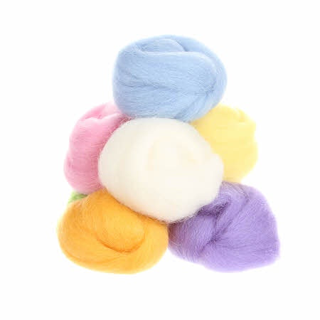 Wistyria Wool Roving - 8 Pieces - Cotton Candy