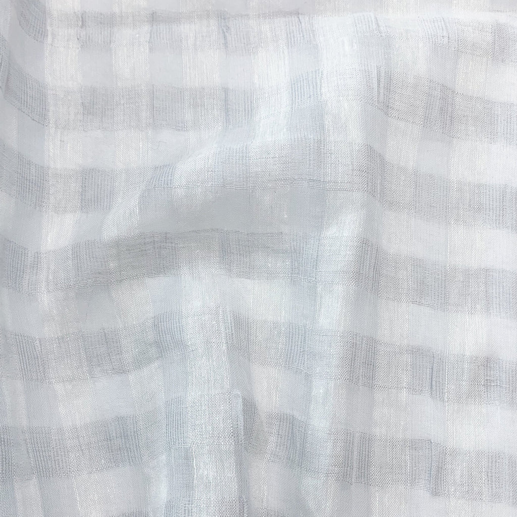 1/2m Linen Cotton Jacquard Check - Pale Grey
