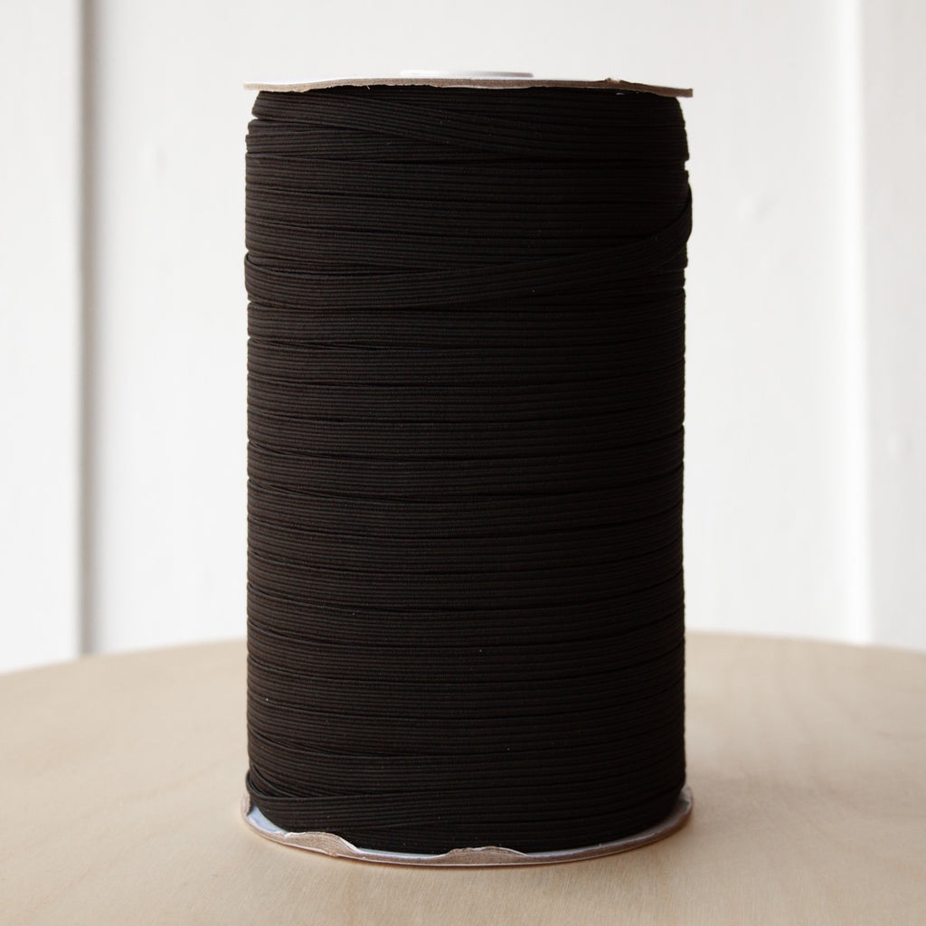 "1/4"" Braided Elastic - Black - Per metre"