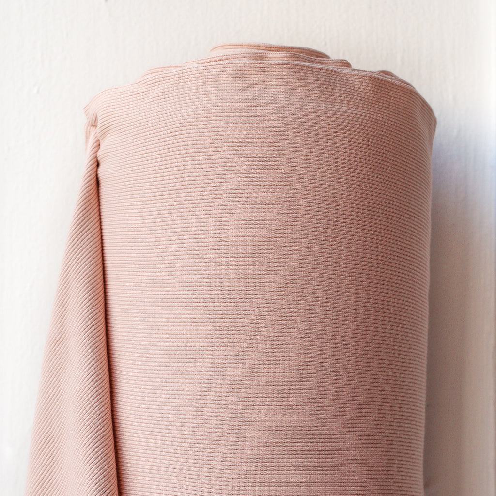 1/2m Bamboo Cotton Rib Knit - Soft Pink