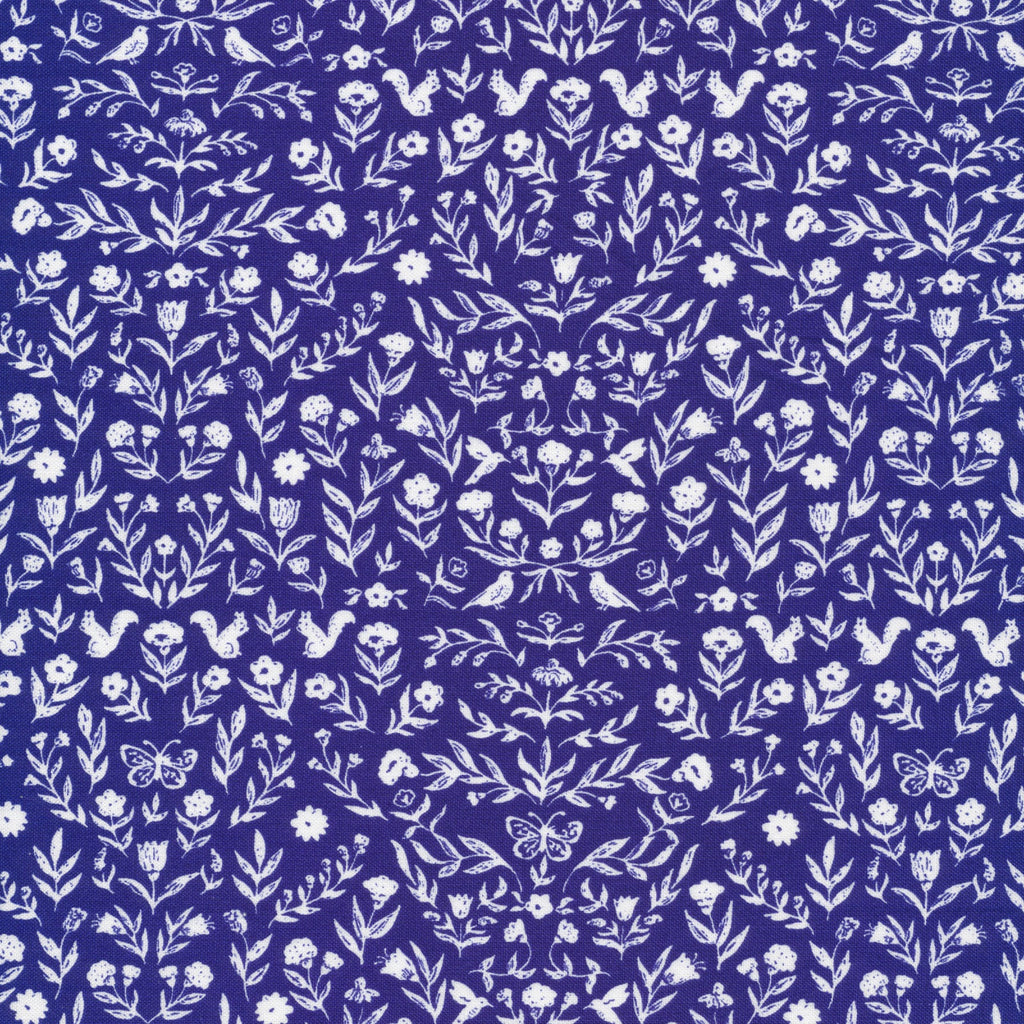 1/2m Cloud9 Fabric - Cassidy Demkov - Perennial - Heirloom - Royal Blue