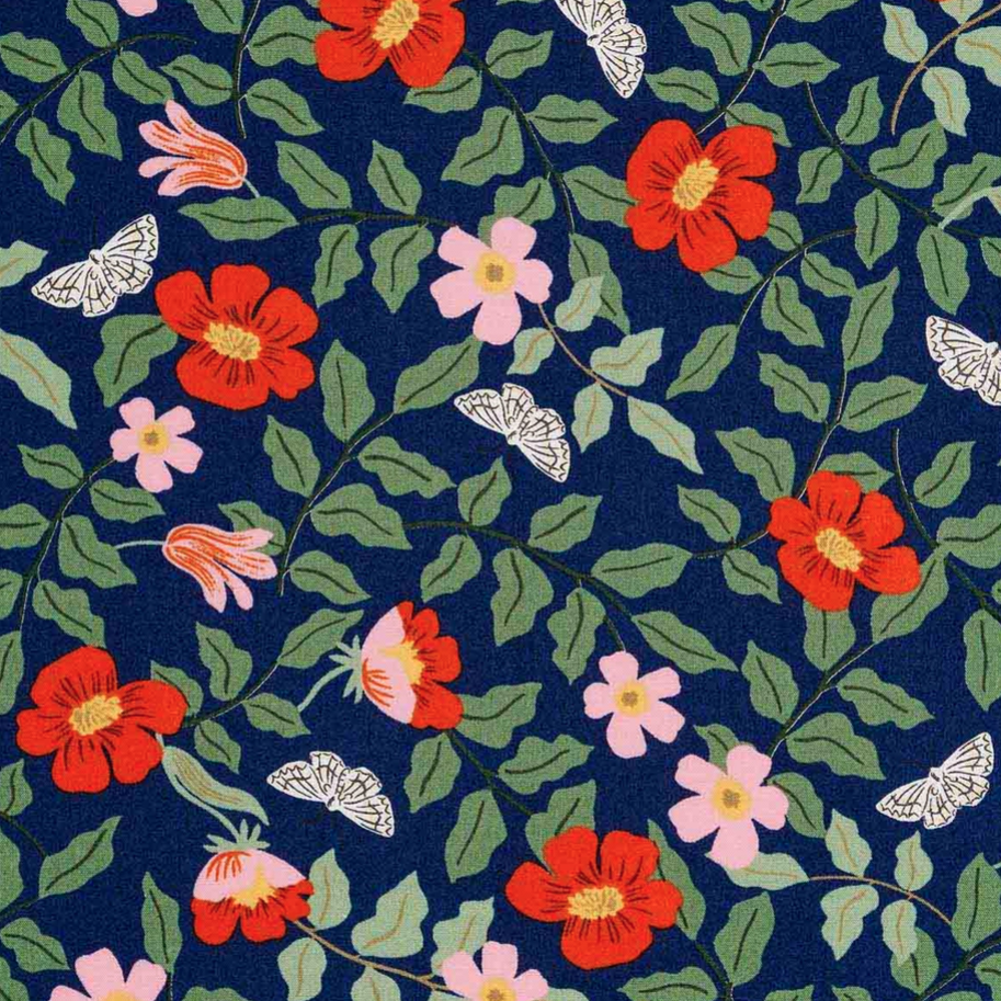 1/2m Rayon Rifle Paper Co. - Strawberry Fields - Primrose RAYON - Navy
