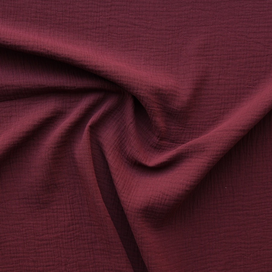 1/2m Cotton Double Gauze - Burgandy