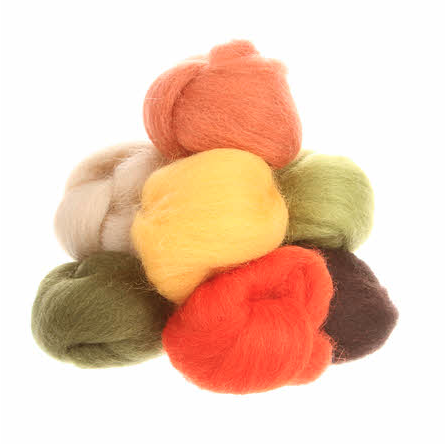 Wistyria Wool Roving - 8 Pieces - Autumn