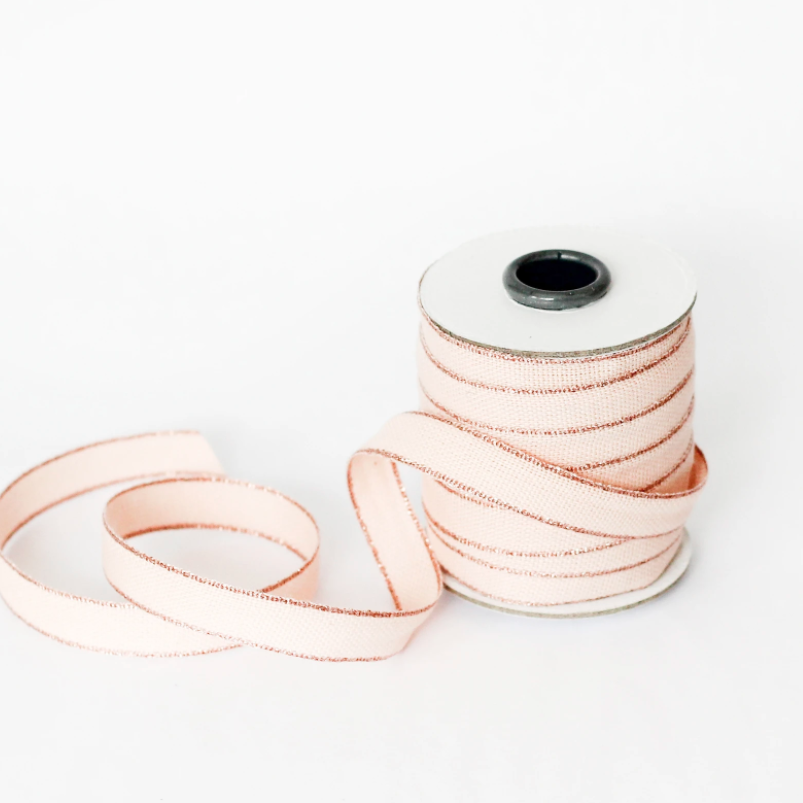 "1/2m Studio Carta - Drittofilo Cotton Ribbon - 3/8"" - Blush/Rose Gold"