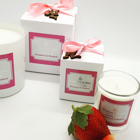 rhubarb & strawberry candles