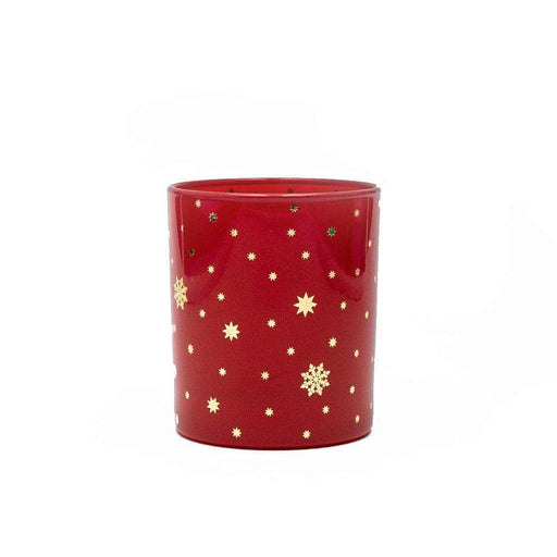 Candle Shack Candle Jar Red Gloss 30cl with Gold Stars